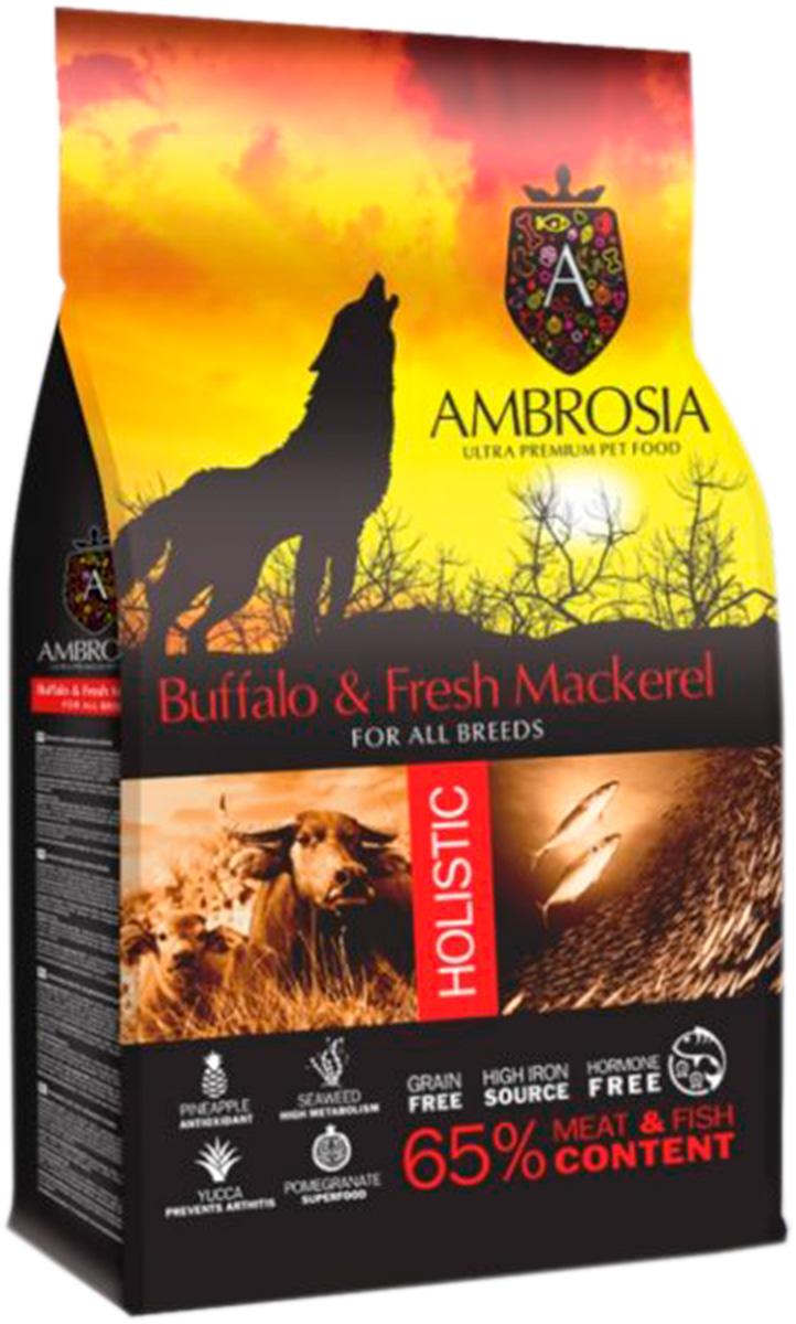 Ambrosia Dog Adult Buffalo & Fresh Mackerel беззерновой для взрослых собак всех пород с буйволом и скумбрией (12 кг)