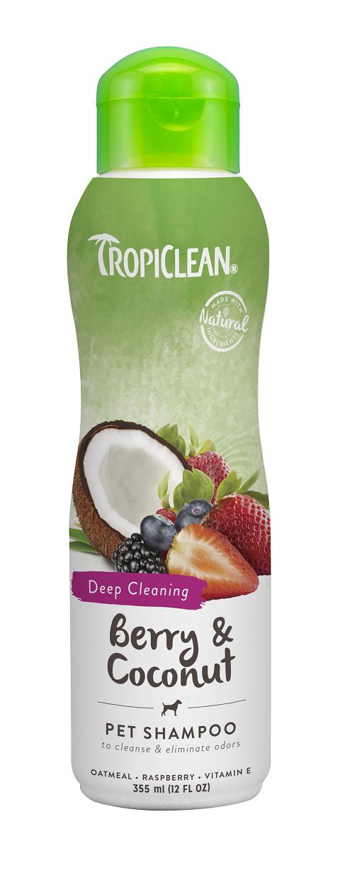 Tropiclean Deep Cleaning Shampoo Berry & Coconut – Тропиклин шампунь для собак и кошек от сильной грязи Ягодный с кокосом (355 мл)