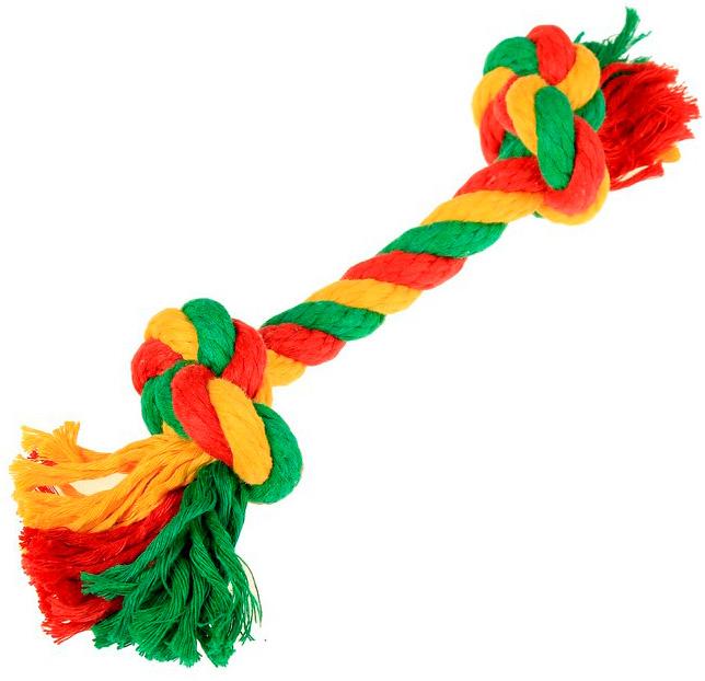 Игрушка для собак Doglike Dental Knot Грейфер с 2 узлами канатный цветной средний (1 шт) фото