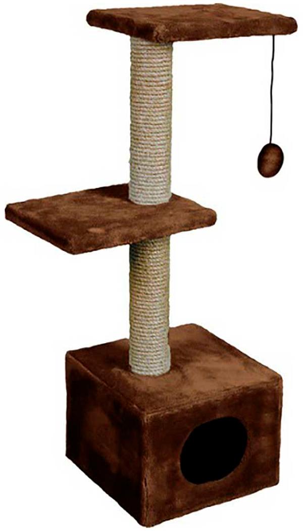 Дом для кошек с 2 площадками Зооник коричневый мех 40 х 36 х 98 см (1 шт)