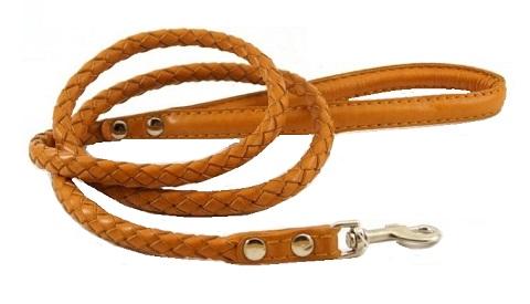 Поводок кожаный для собак плетеный рыжий 5 мм 1,2 м ZooMaster (1 шт)