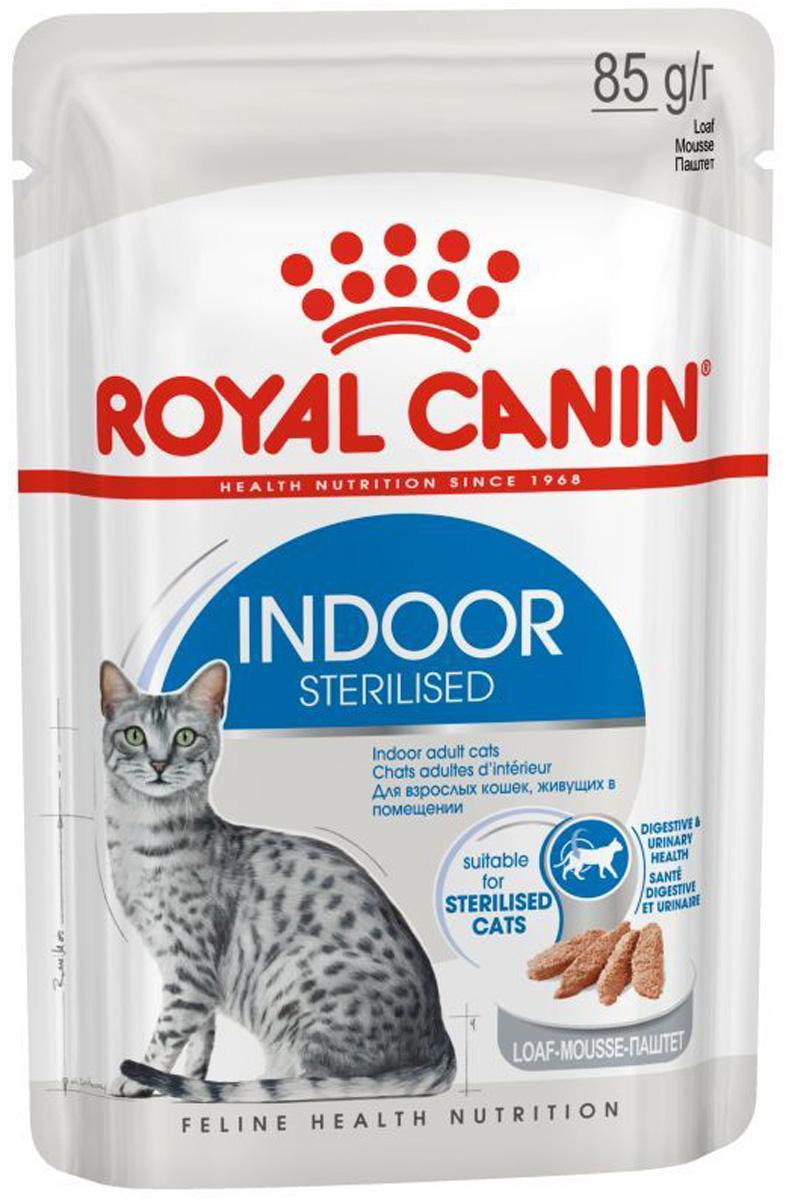 Royal Canin Indoor Sterilised для взрослых кастрированных котов и стерилизованных кошек живущих дома паштет 85 гр (85 гр)