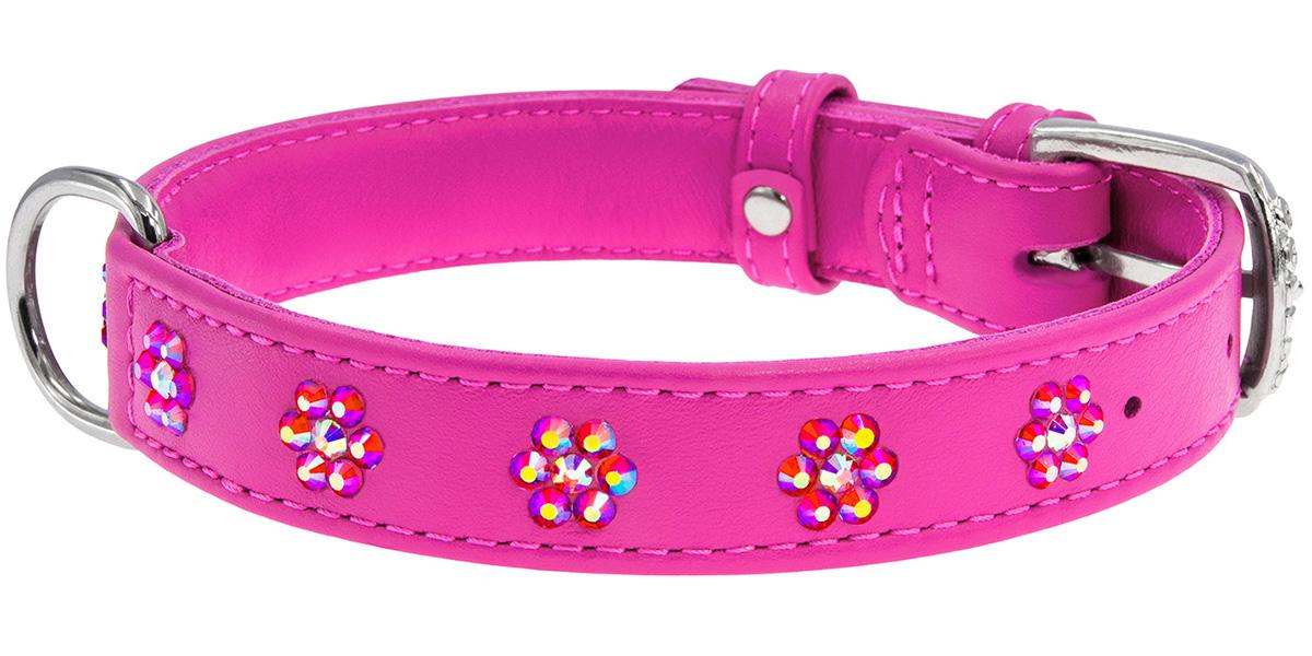 Ошейник кожаный для собак с клеевыми стразами Цветочек розовый 15 мм 27 – 36 см Collar WauDog Glamour (1 шт) ошейник collar glamour с клеевыми стразами цветочек ширина 12мм длина 21 29см лайм для собак 32695