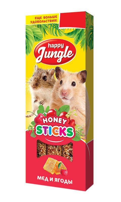 Happy Jungle палочки для мелких грызунов мед и ягоды (3 шт)