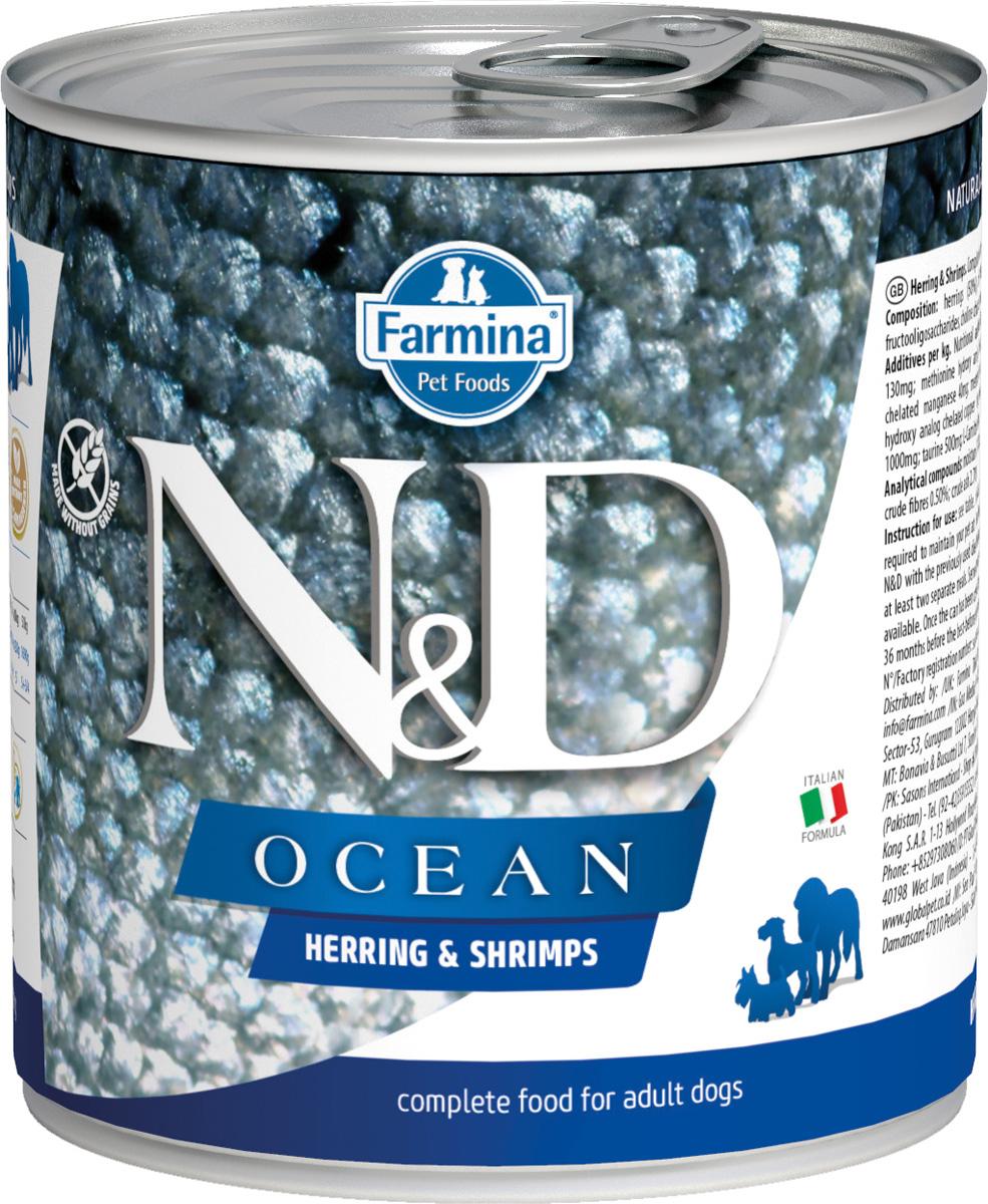 Farmina Dog N&d Ocean Adult Herring & Shrimps беззерновые для взрослых собак всех пород с сельдью и креветками 285 гр (285 гр х 6 шт) фото