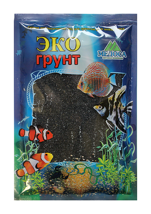 Грунт для аквариума Цветной песок черный блестящий