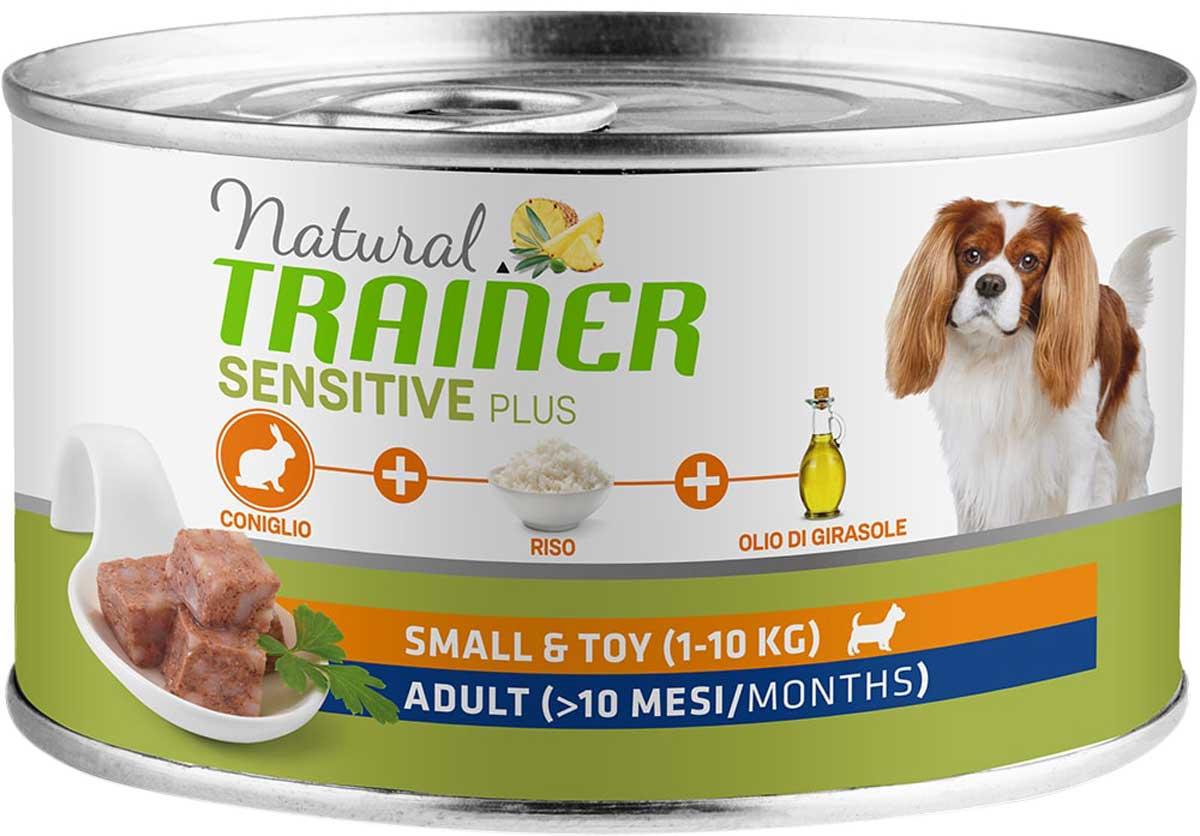 Trainer Natural Sensitive Plus Small & Toy Adult Rabbit & Rice безглютеновые для взрослых собак маленьких пород с кроликом и рисом  (150 гр х 24 шт)