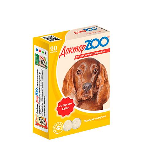 доктор Zoo мультивитаминное лакомство для собак со вкусом сыра и биотином (90 таблеток)