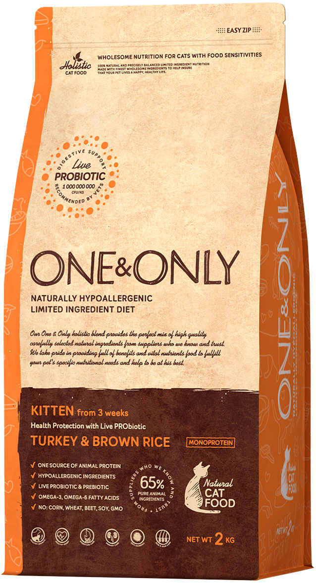 One&only Kitten Turkey & Rice для котят с индейкой и рисом (2 кг) savarra kitten для котят с индейкой и рисом 0 4 кг