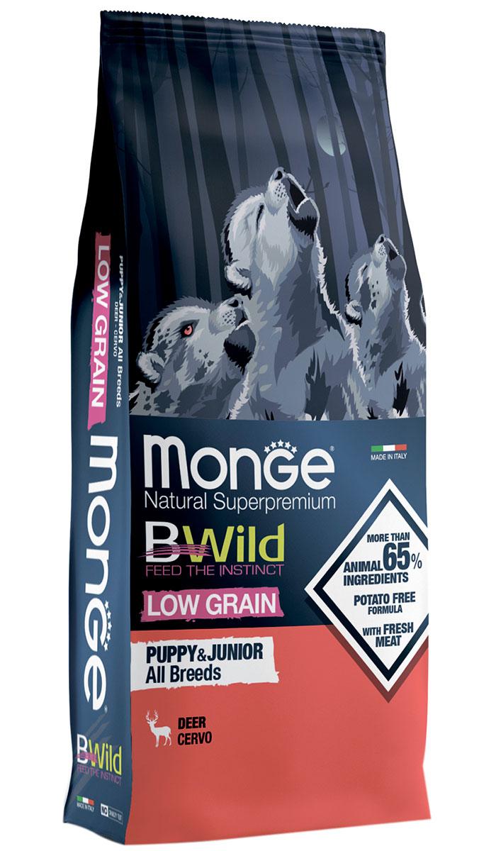 Monge Bwild Low Grain Puppy & Junior низкозерновой для щенков всех пород с олениной (12 кг)