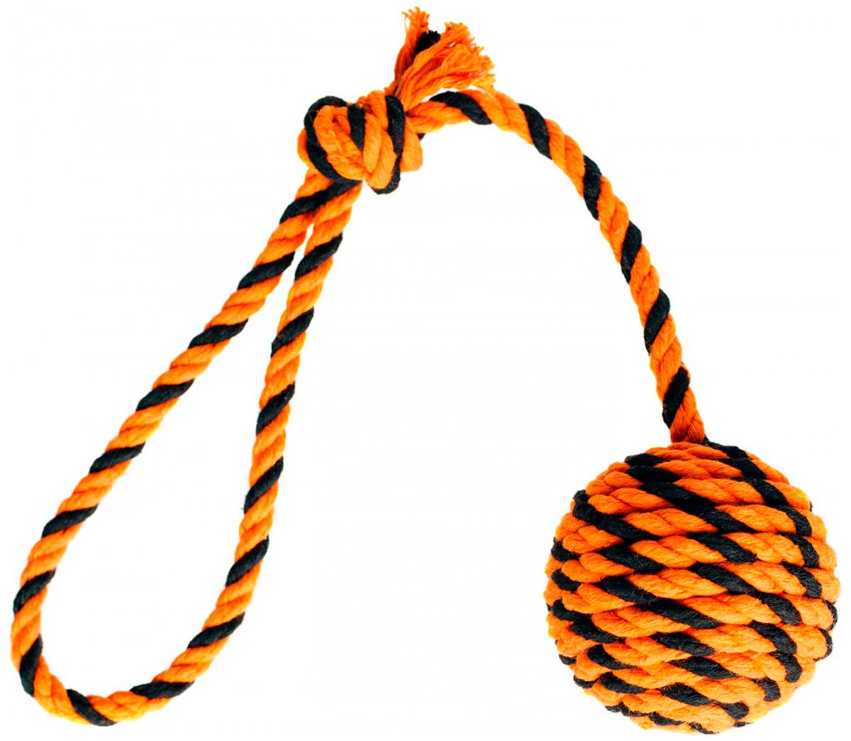 Мяч с ручкой для собак Doglike Броник оранжевый/черный средний (1 шт)
