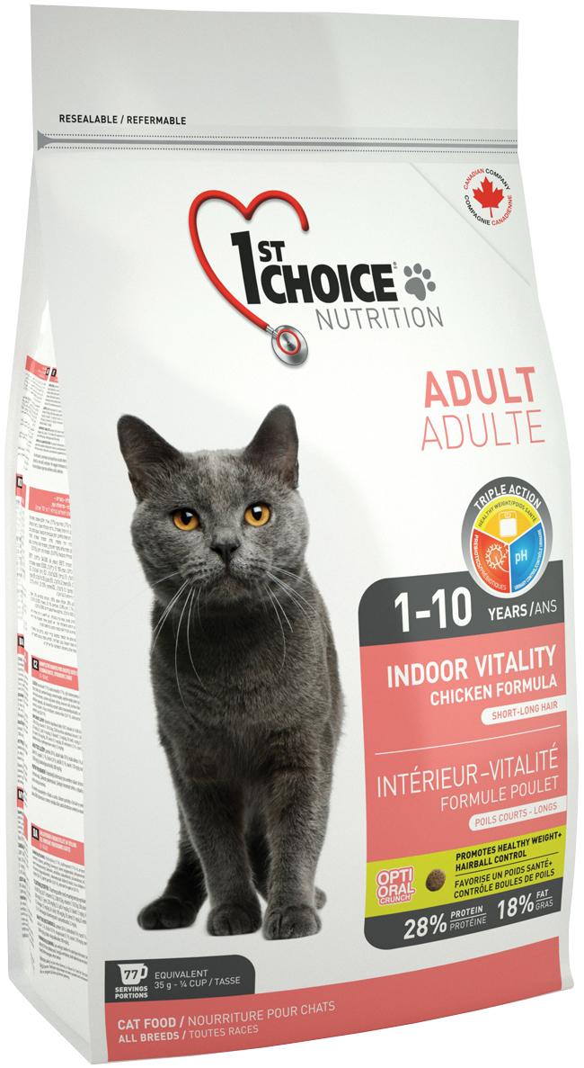 1st Choice Cat Adult Indoor Vitality для взрослых кошек живущих дома с курицей (10 кг)