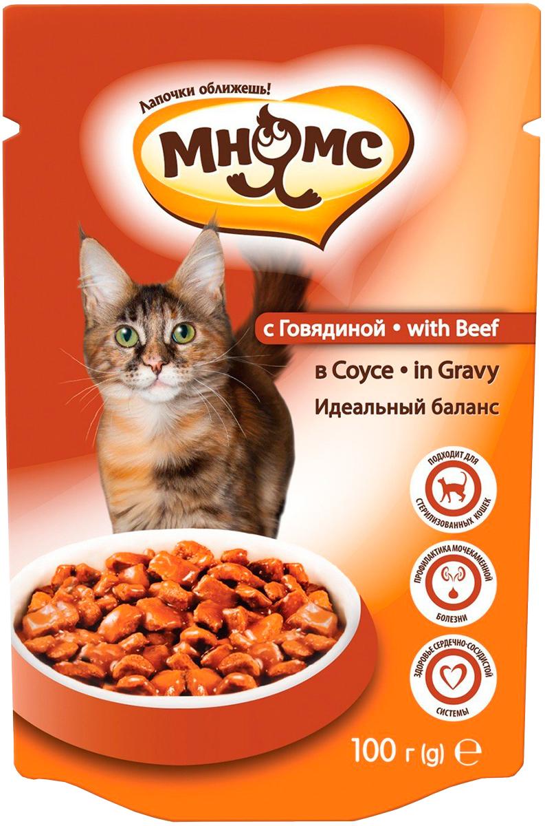Мнямс идеальный баланс для взрослых кошек с говядиной в соусе 100 гр (100 гр) фото