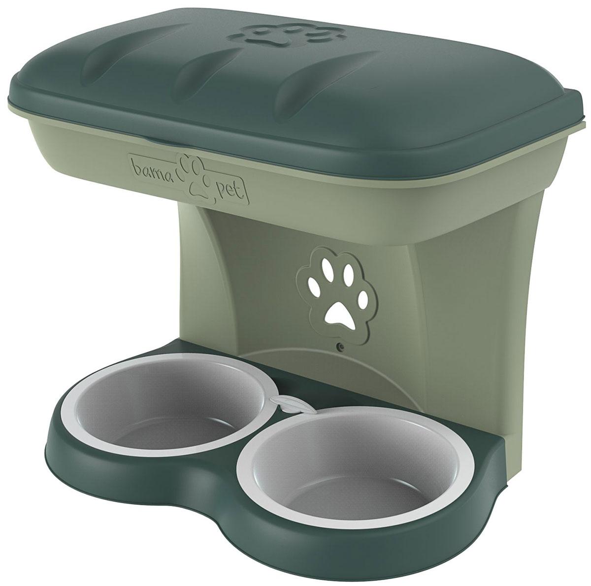 Миска настенная двойная для собак Bama Pet зеленая 2200 мл 50 х 29 х 52 см (1 шт)