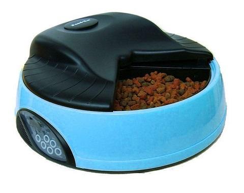 Автоматическая кормушка для кошек и собак на 4 кормления с ЖК-дисплеем и емкостью для льда Feed-Ex голубая (1 шт).