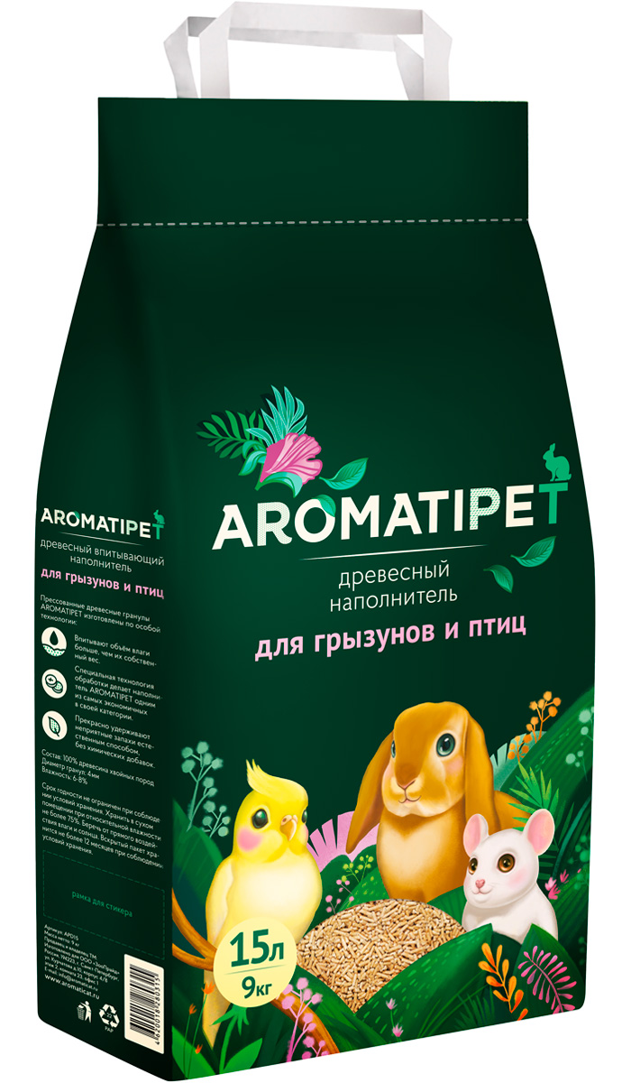 Картинка - AromatiPet наполнитель древесный для грызунов и птиц (5 л)