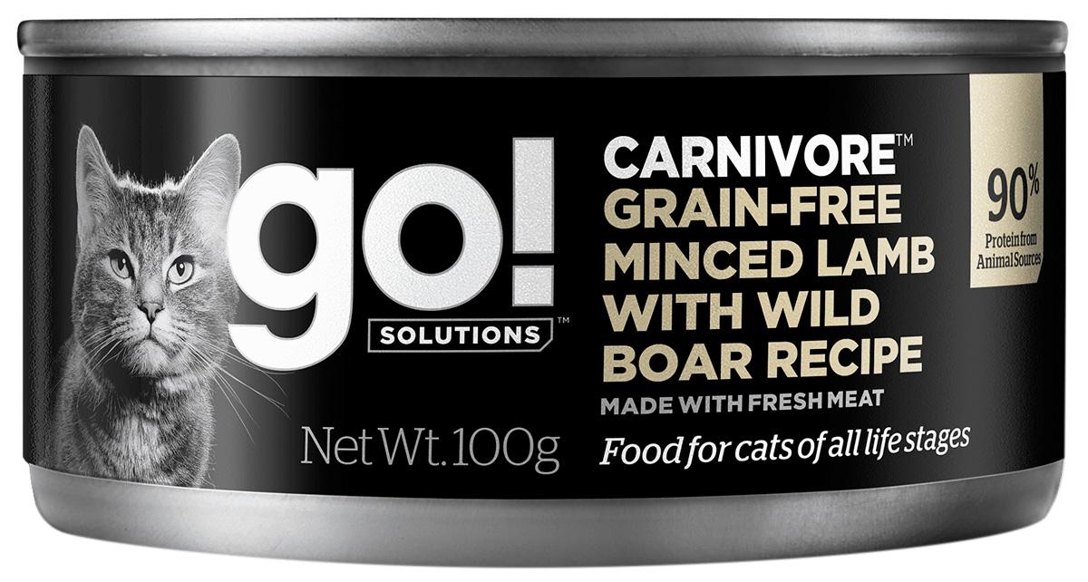 Go! Solutions Carnivore беззерновые для кошек и котят с рубленым ягненком и мясом дикого кабана 100 гр (100 гр)