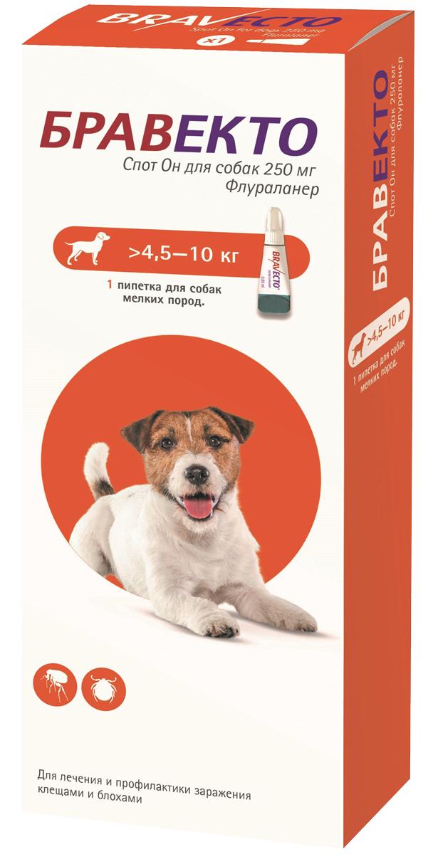 бравекто спот он капли для собак весом от 4,5 до 10 кг против клещей и блох (1 пипетка)
