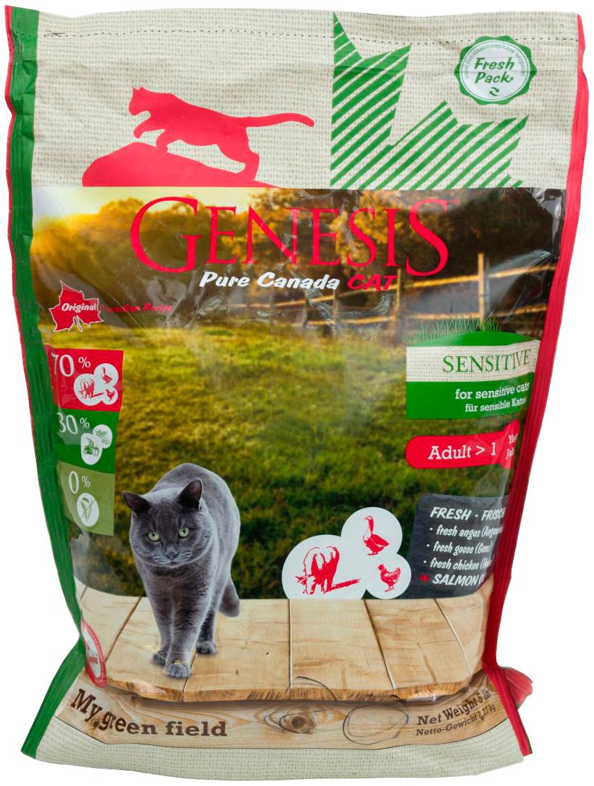 Genesis Pure Canada My Green Field Sensitive беззерновой для взрослых кошек при аллергии с гусем, говядиной и курицей (0,34 кг)