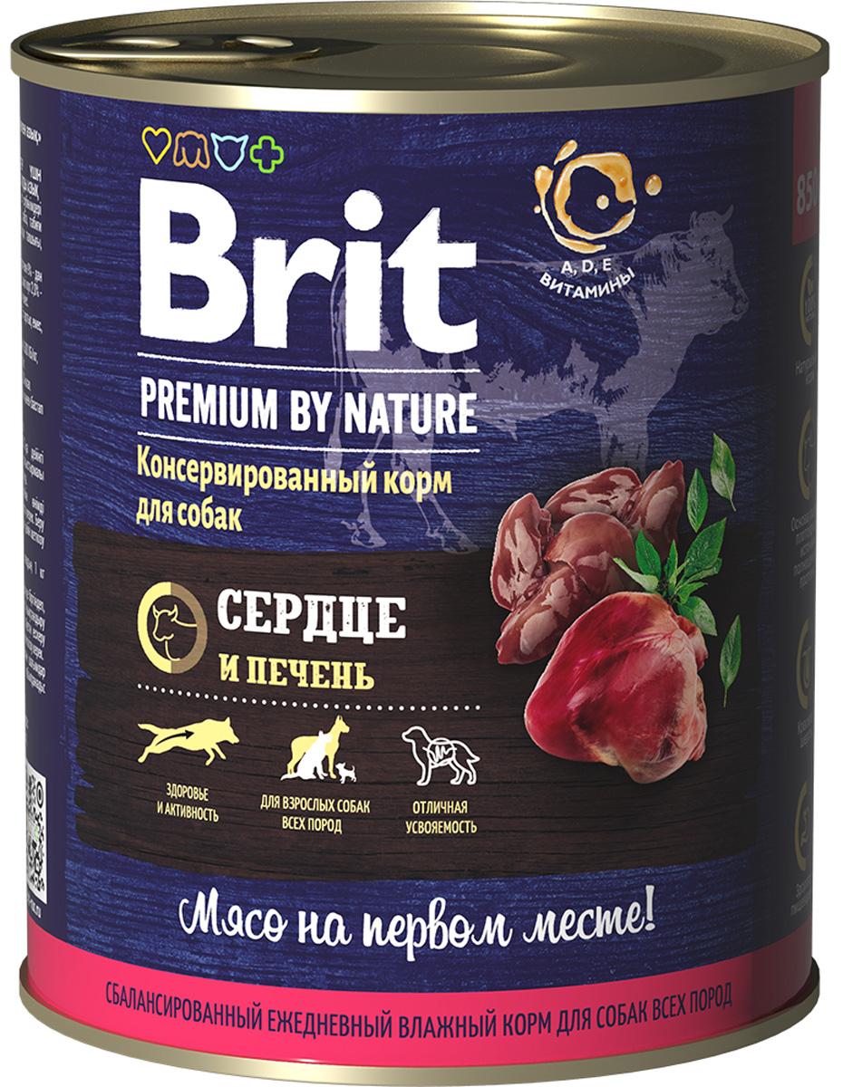 Фото - Brit Premium By Nature Dog для взрослых собак с сердцем и печенью (850 гр) dog wet food brit premium canned food for dogs pate beef and liver 850 g