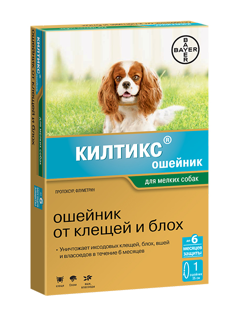 Kiltix – Килтикс ошейник для мелких собак против клещей, блох, вшей и власоедов длина 35 см Bayer (1 шт) bayer kiltix bayer ошейник килтикс для собак крупных пород 66 см
