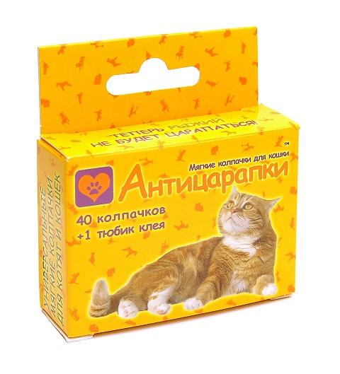 антицарапки – Мягкие глянцевые колпачки для кошек 40 колпачков (красный)
