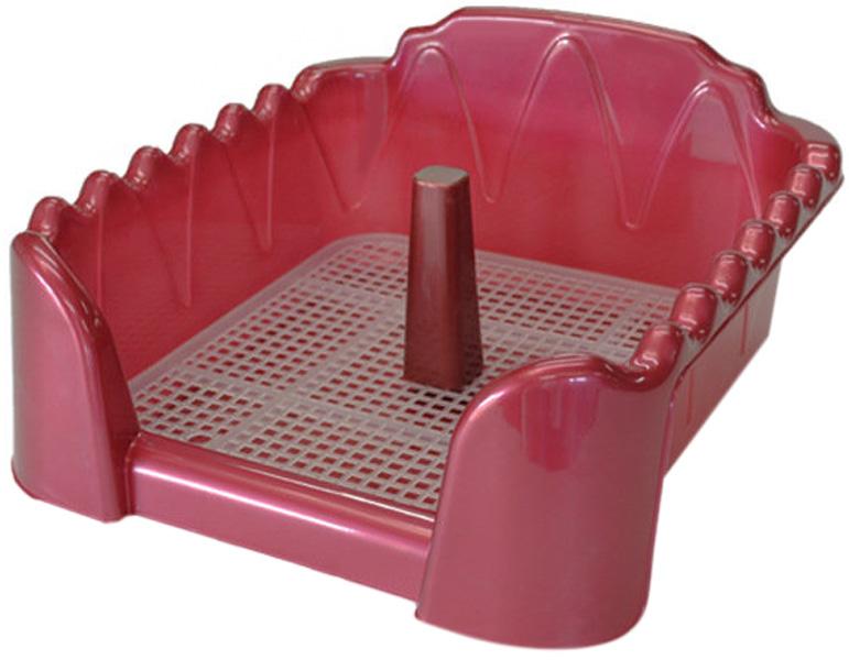 Туалет для собак со столбиком красный перламутр