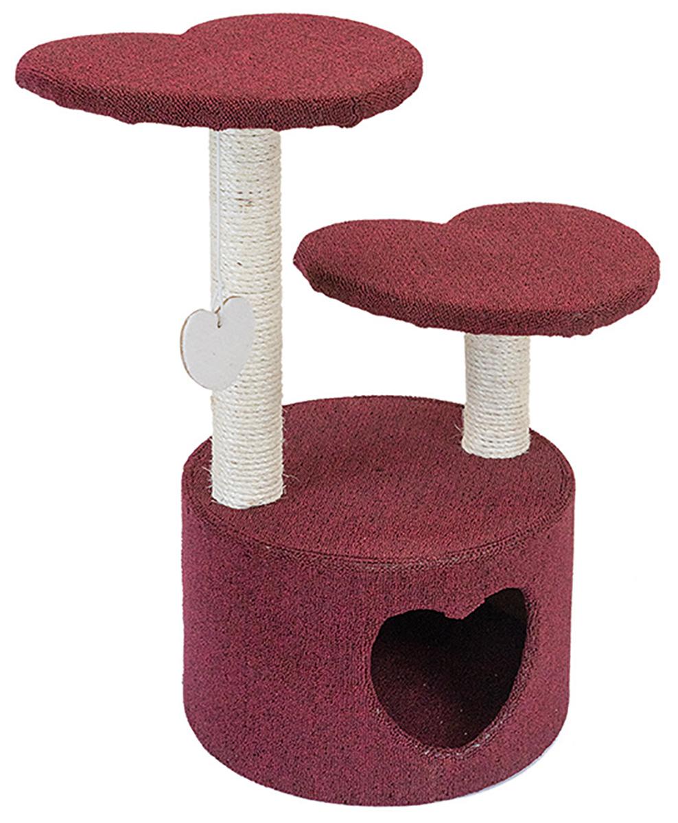 Домик когтеточка для кошек Tappi Меган сизаль бордовый 39 х 39 х 73,5 cм (1 шт) меридиан домик когтеточкаквадратный трехэтажный с двумя окошка лоза джут рис далматин белый фон черный рисунок 45 х 47 х 75 см
