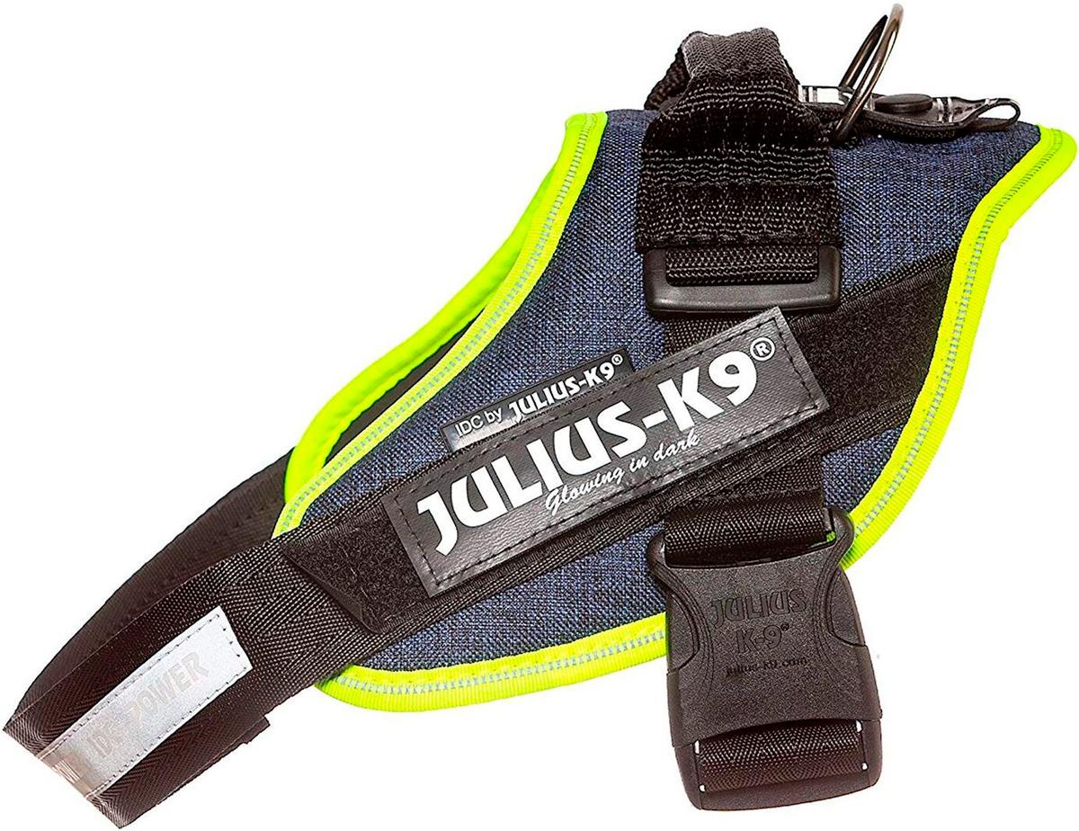 Шлейка для собак Julius-K9 Idc Powerharness 1 джинса зеленый неон 23 - 30 кг 63 – 85 см (1 шт) фото