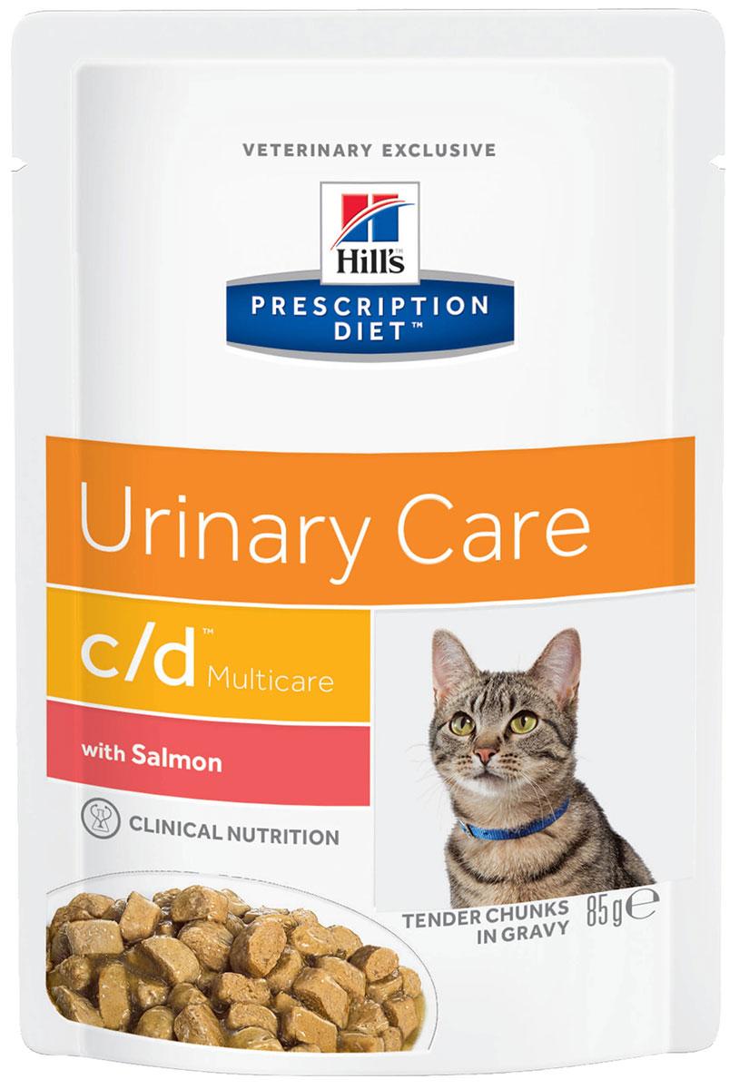 Hill's Prescription Diet Multicare с/d Salmon для взрослых кошек при мочекаменной болезни с лососем в соусе 85 гр (85 гр х 12 шт)