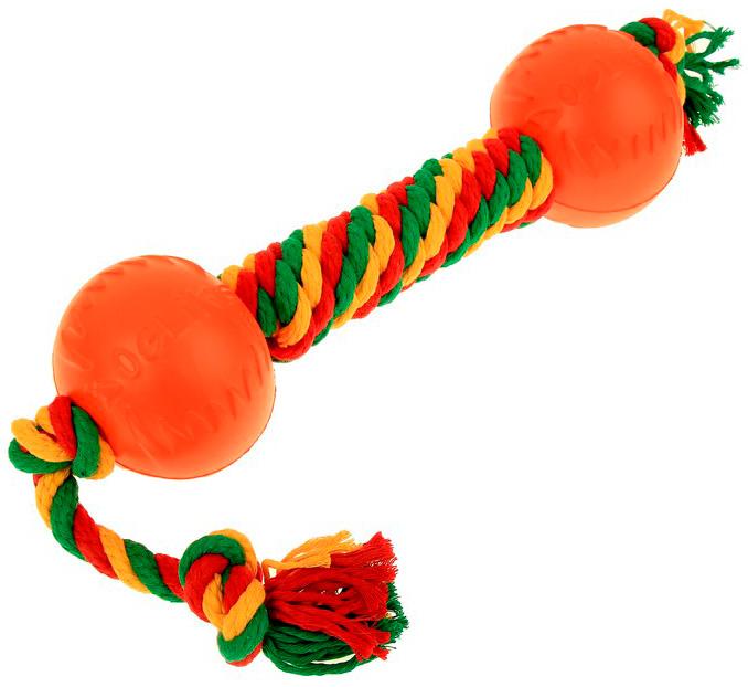 Гантель для собак Doglike Dental Knot канатная цветная средняя (1 шт)