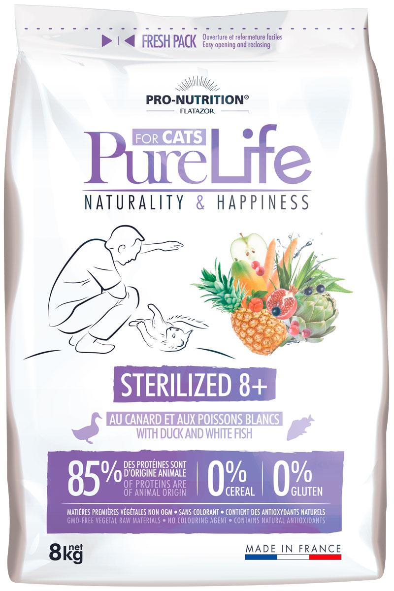 Flatazor Pure Life Adult Sterilised 8+ для взрослых кастрированных котов и стерилизованных кошек старше 8 лет (2 кг)