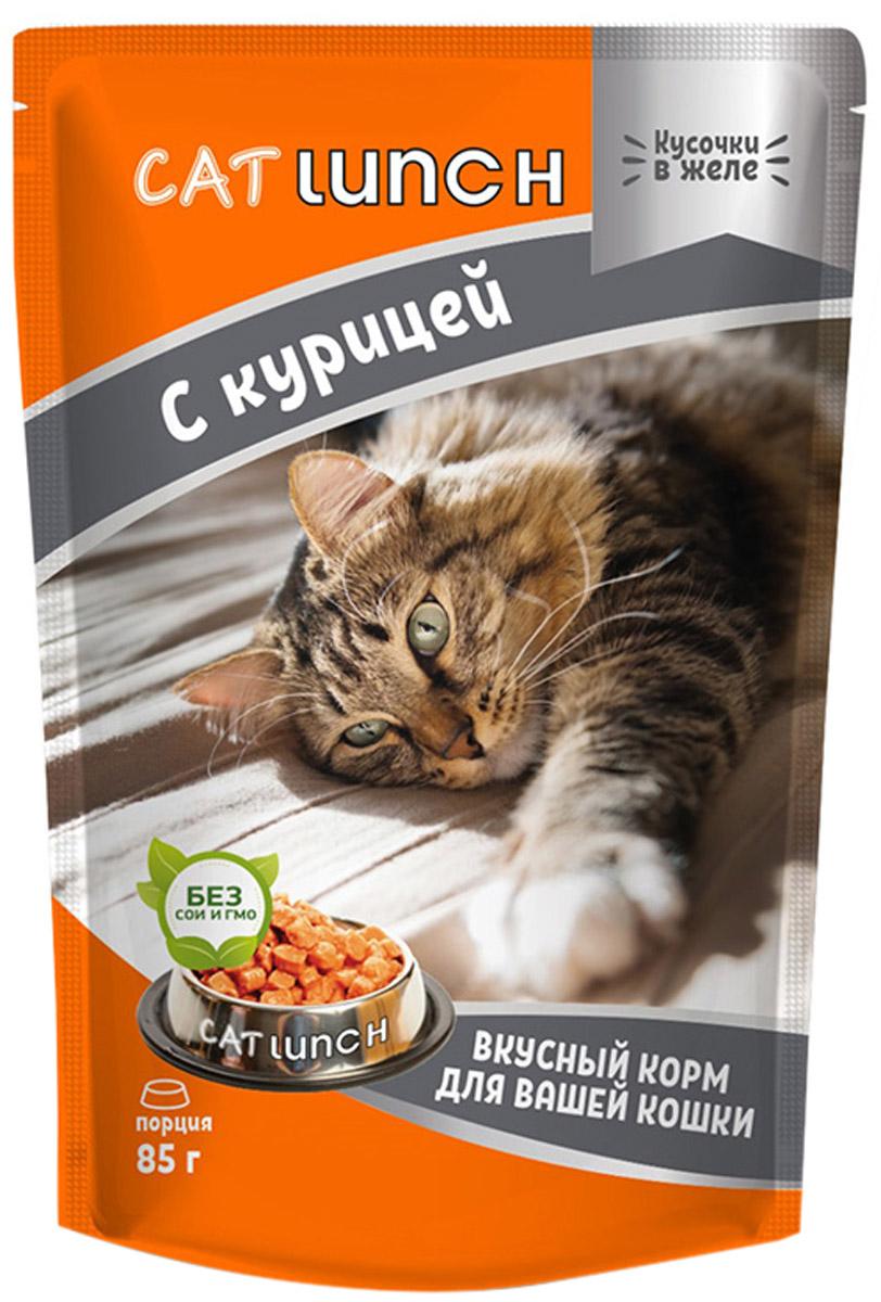 Cat Lunch для взрослых кошек с курицей в желе (85 гр х 24 шт)