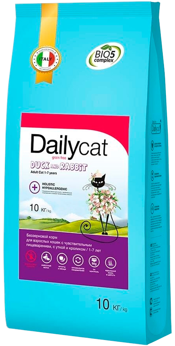 Dailycat Grain Free Adult беззерновой для взрослых кошек с уткой и кроликом (3 кг)