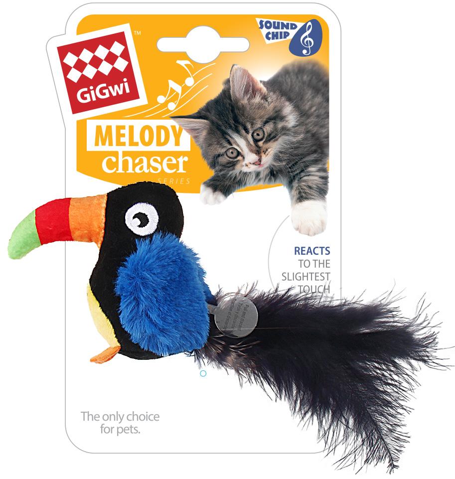 Игрушка для кошек GiGwi Melody Chaser Тукан со звуковым чипом 10 см (1 шт) фото