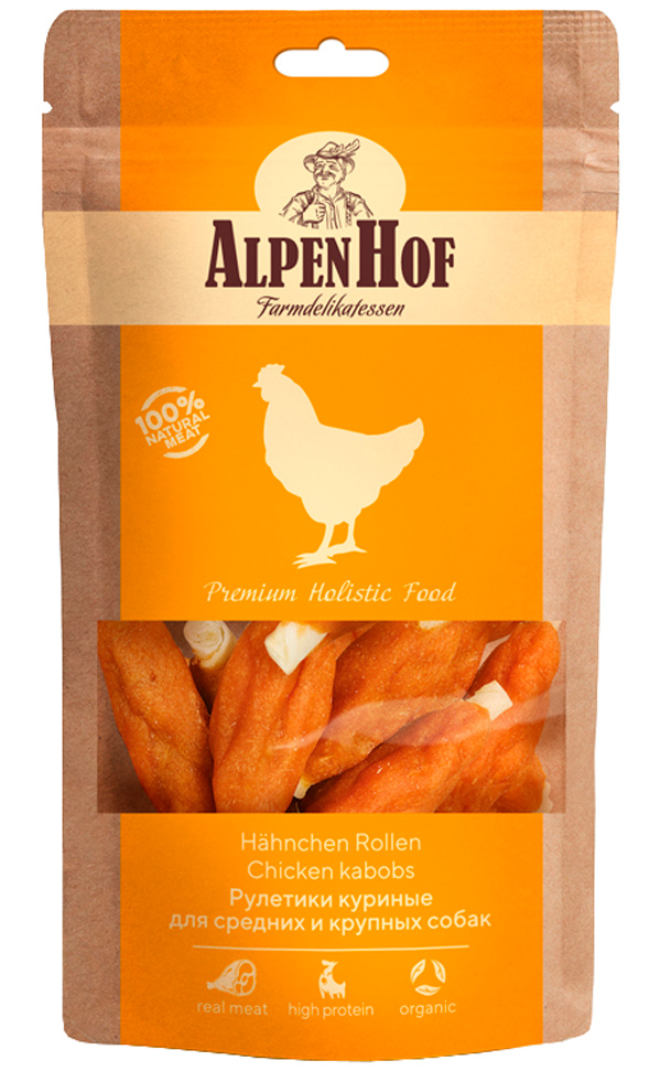 Лакомство AlpenHof для собак средних и крупных пород рулетики с курицей 80 гр (1 уп)
