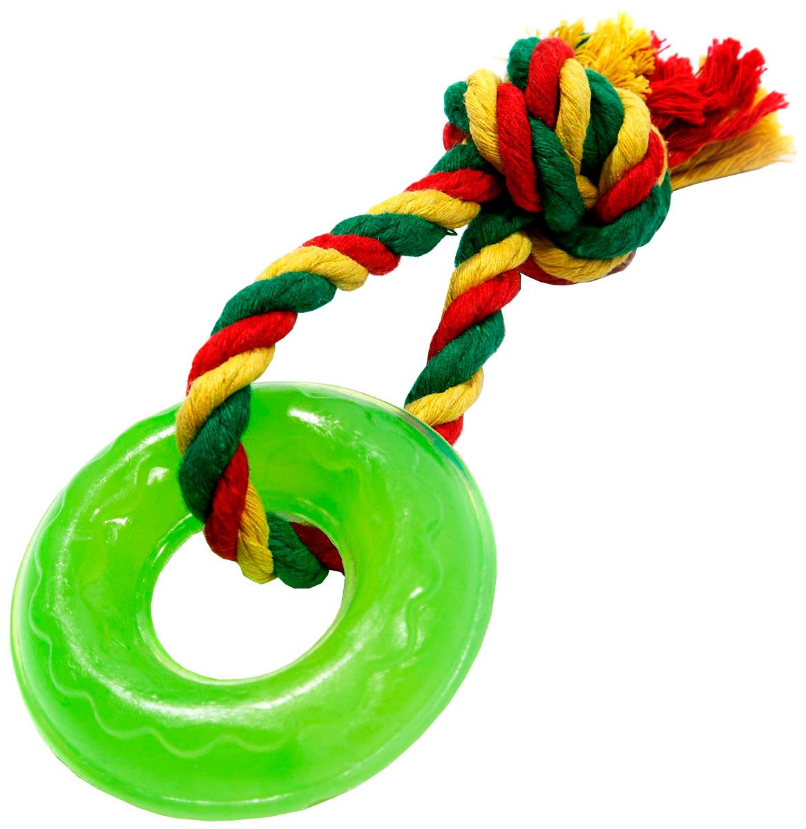Игрушка для собак Doglike Кольцо Мини с канатом зеленое (1 шт)