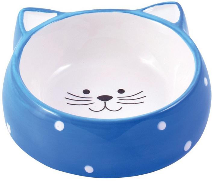 Керамическая миска КерамикАрт Мордочка кошки голубая (0,25 л)