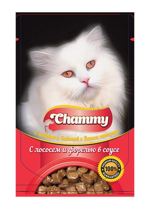 Chammy для взрослых кошек с лососем и форелью в соусе 85 гр (85 гр)