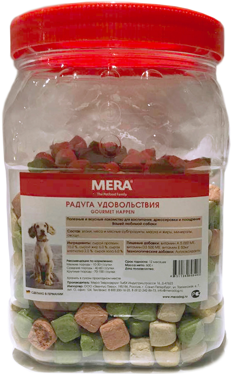 Лакомство Mera Gourmet Happen для собак всех пород радуга удовольствий 600 гр  (1 шт)