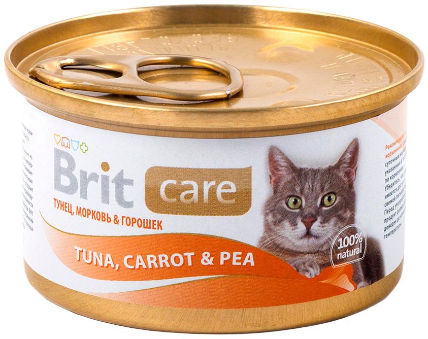 Brit Care Cat Tuna, Carrot & Pea для взрослых кошек с тунцом, морковью и горошком 80 гр (80 гр х 12 шт) brit care cat chicken breast для взрослых кошек с куриной грудкой 80 гр 80 гр