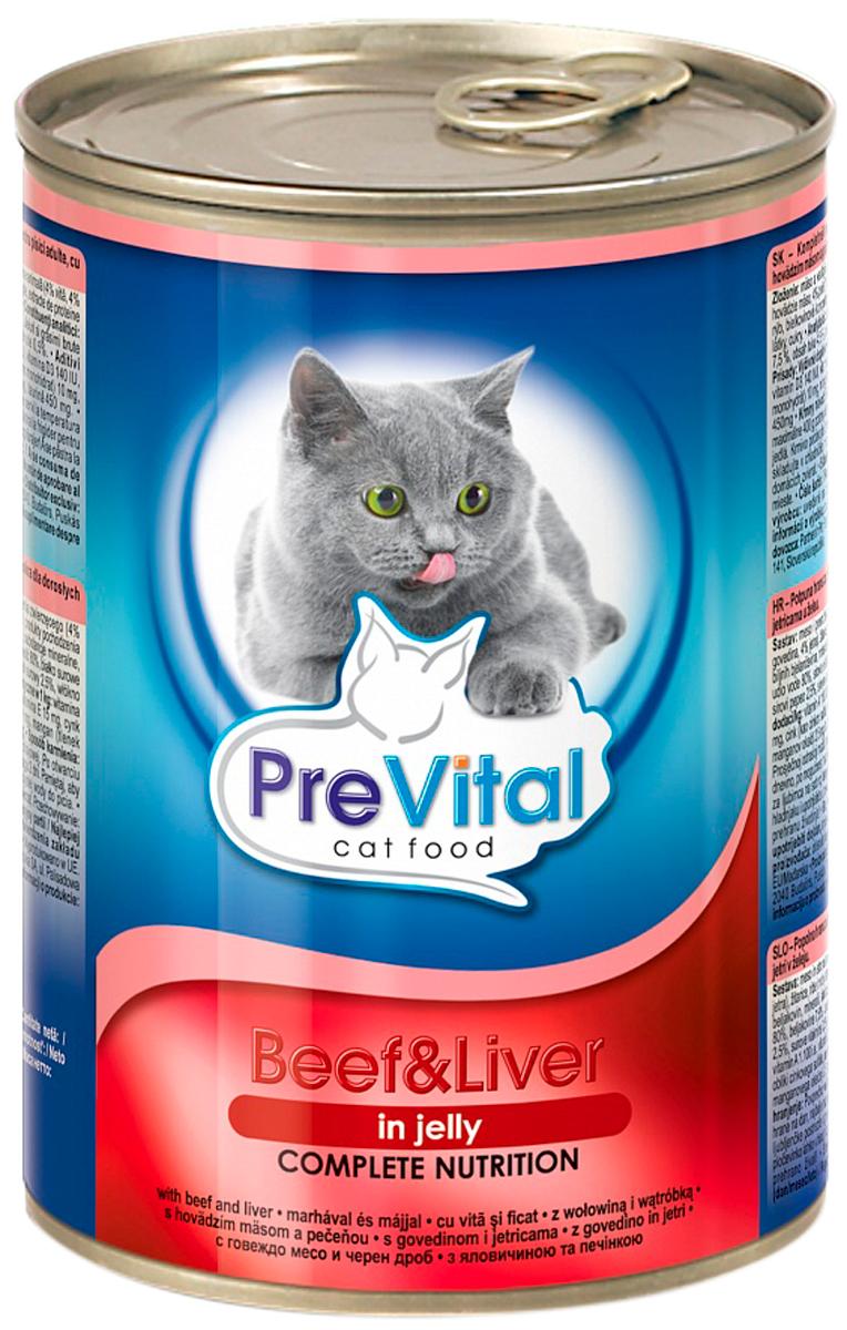 Prevital для взрослых кошек с говядиной и печенью в желе (415 гр)