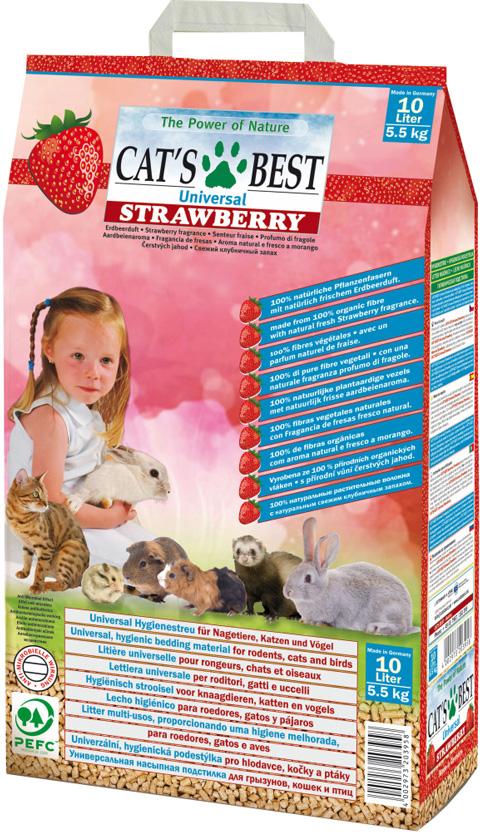 Cat's Besт Universal Strawberry - Кэтс Бэст Клубника наполнитель древесный впитывающий ароматизированный для животных (10 л) фото