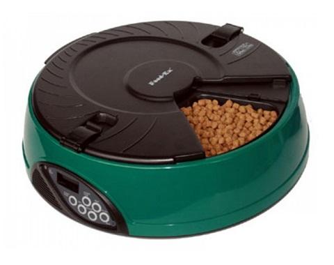 Автоматическая кормушка для кошек и собак на 6 кормлений с ЖК-дисплеем Feed-Ex зеленая (1 шт).