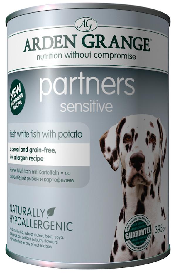 Arden Grange Partners Sensitive для взрослых собак при аллергии с рыбой и картофелем  (395 гр).