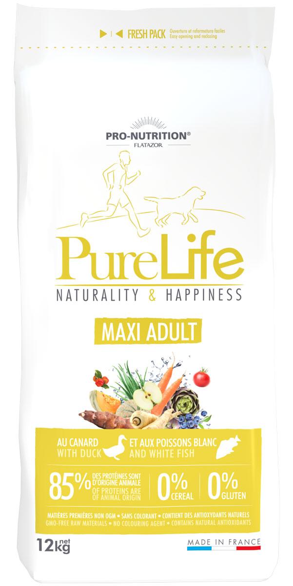 Flatazor Pure Life Adult Maxi беззерновой для взрослых собак крупных пород с уткой и белой рыбой (12 кг)