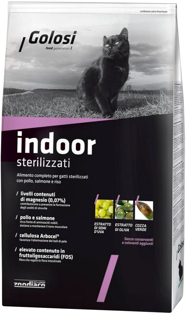 Golosi Indoor Sterilizzati для взрослых кастрированных котов и стерилизованных кошек живущих дома с курицей, лососем и рисом (20 кг) сухой корм для кошек golosi с курицей с рисом 20 кг