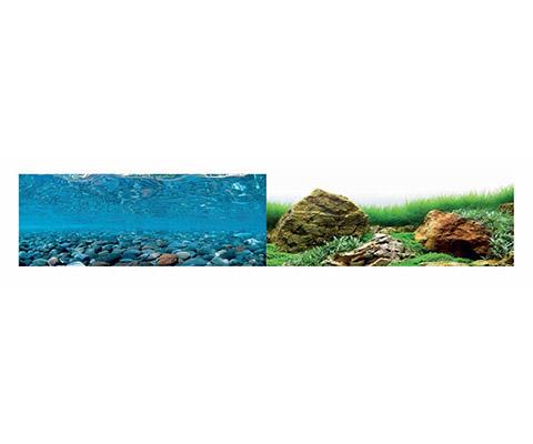 Аквариумный фон плотный двухсторонний Barbus Горная река/Зеленое море 60 см/124 см Background 021 (1 шт)