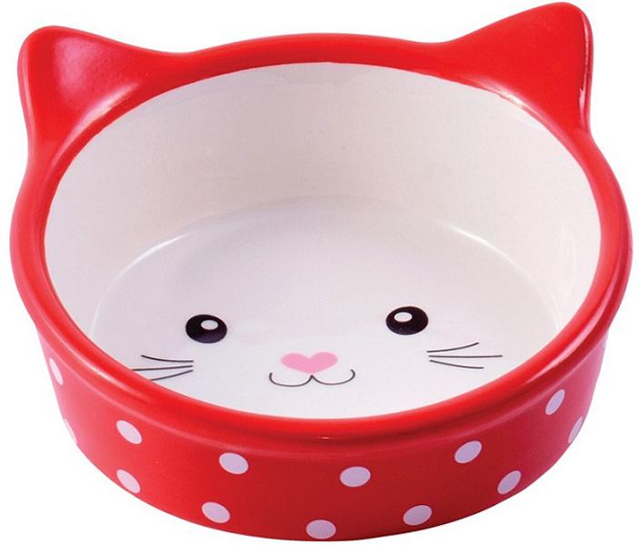 Керамическая миска КерамикАрт Мордочка кошки красная (0,25 л)