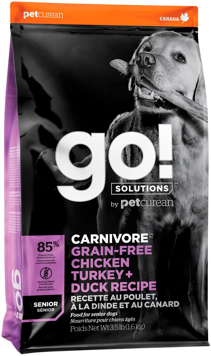 Go! Solutions Carnivore беззерновой для пожилых собак всех пород 4 вида мяса с индейкой, курицей, лососем и уткой (10 + 10 кг) фото